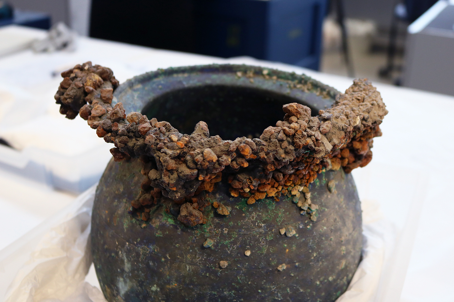 A 79AD pot encrusted with volcanic stones