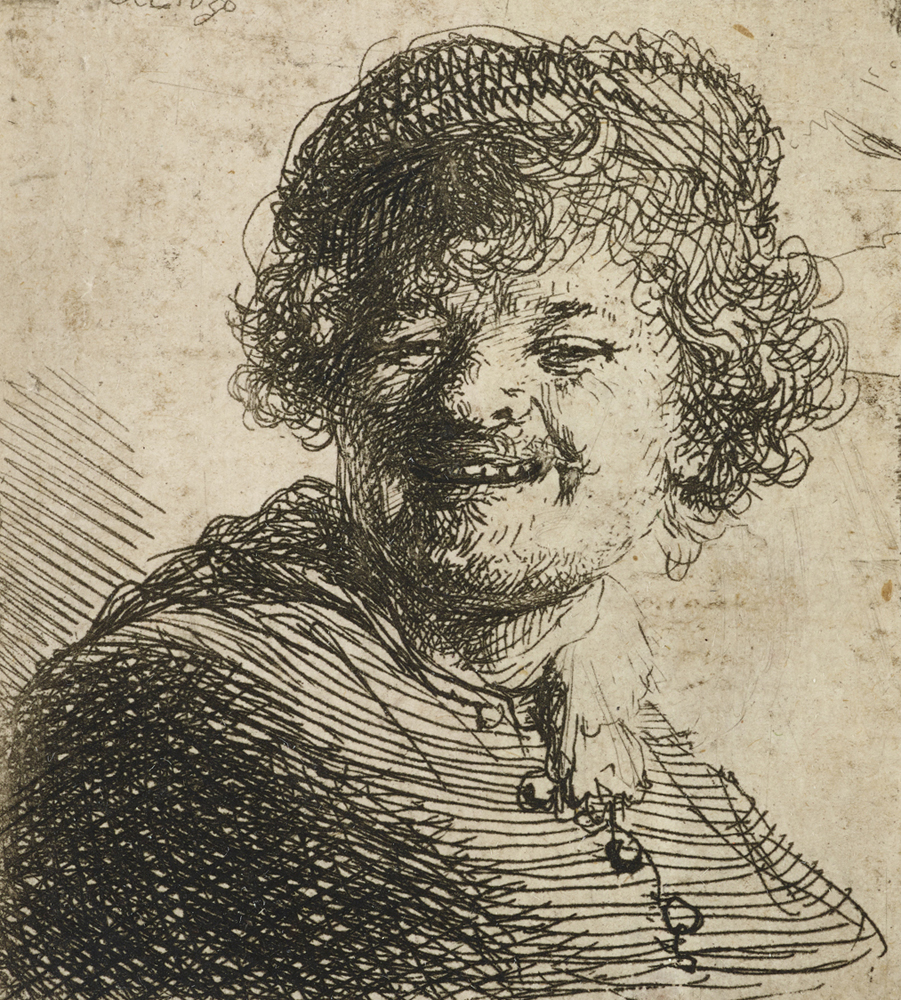 2020 Young Rembrandt Exhibition – Rembrandt, Self-portrait in a cap, laughing, 1630 WA1855_327 © Ashmolean Museum