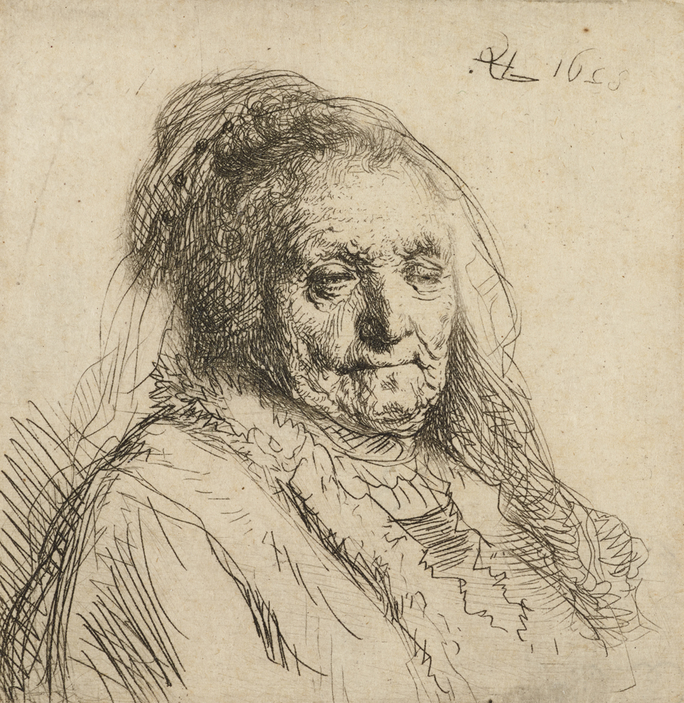 2020 Young Rembrandt Exhibition – Rembrandt, The artist's mother, head and bust © Ashmolean Museum