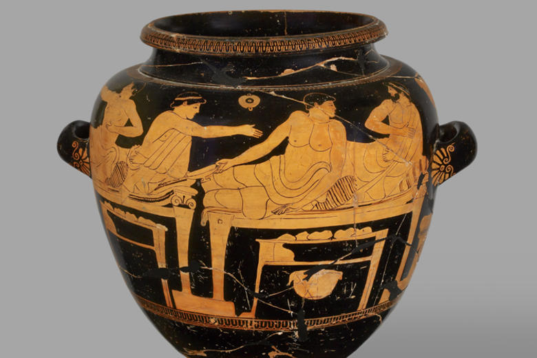 Stamnos depicting a symposiastic scene, Attica, Greece 480–460BC