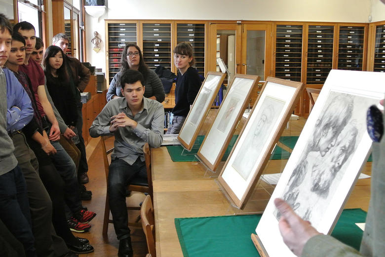 A group of visitors in the Western Art Print Room