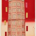 A tall Japanese woodblock print of a brick tower