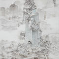 A grey and white pencil rendering of a tall building with intricate detail