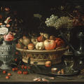 A still life painting of fruits and flowers