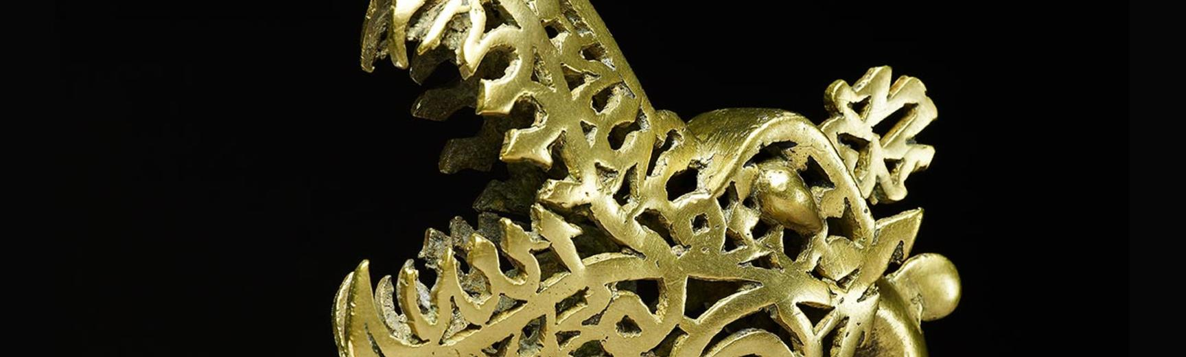 Brass Dragon head made up of calligraphy