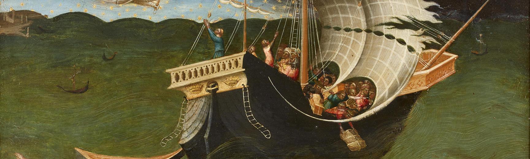 Detail of St Nicholas banishing a storm