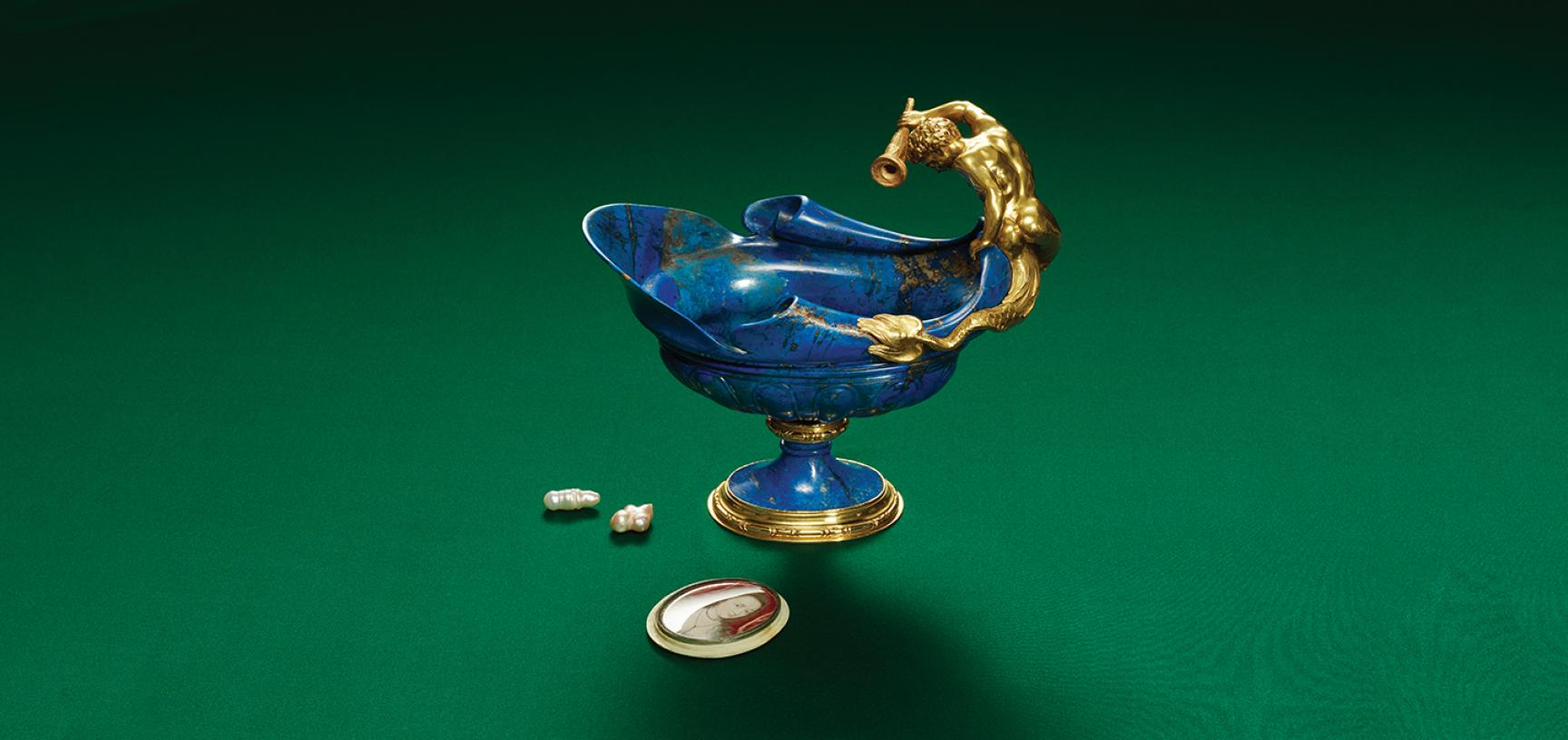 Lapis Lazuli Ewer wrapped in Gold