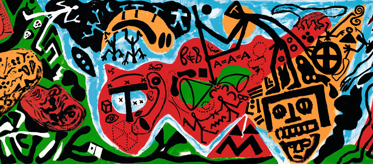 A.R. Penck, Edinburgh (Northern Darkness III), 1987. Emulsion paint and resin on canvas. Galerie Michael Werner.