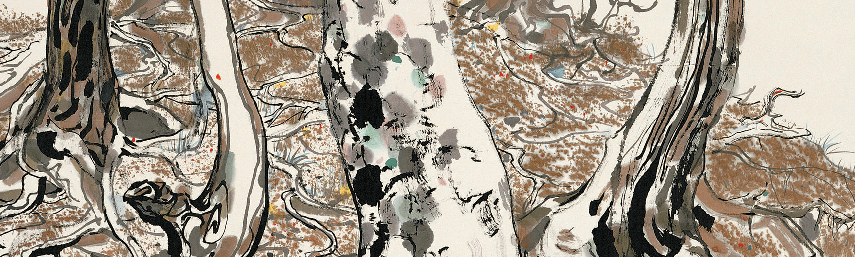 Detail from a painting of tree roots by Wu Guanzhong