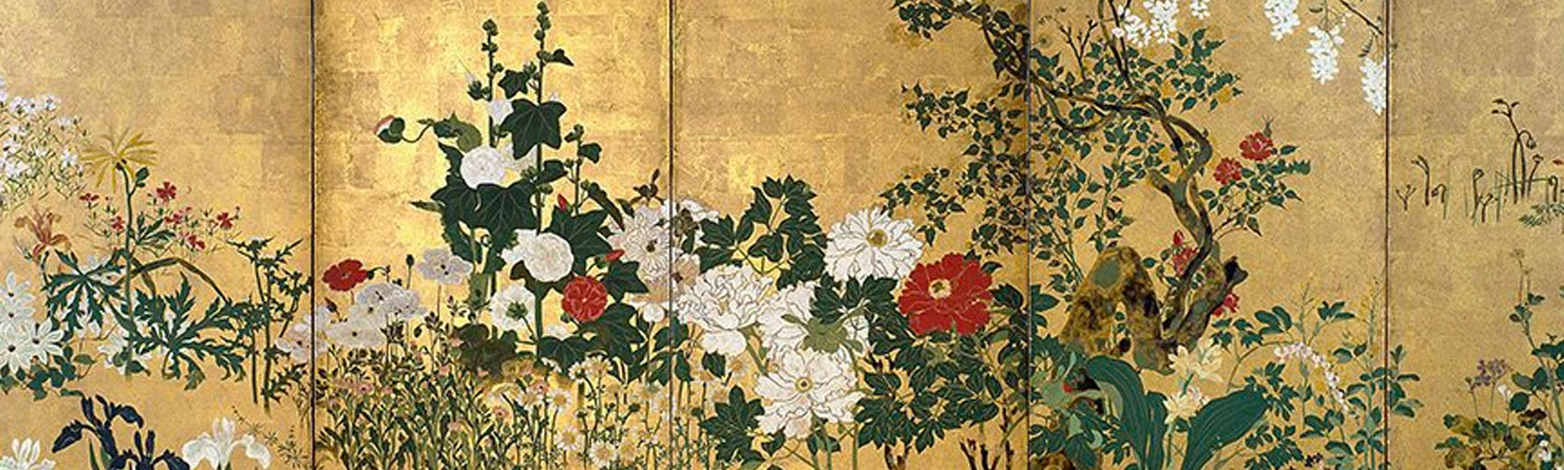 Artwork with colourful red and white flowers on a golden background