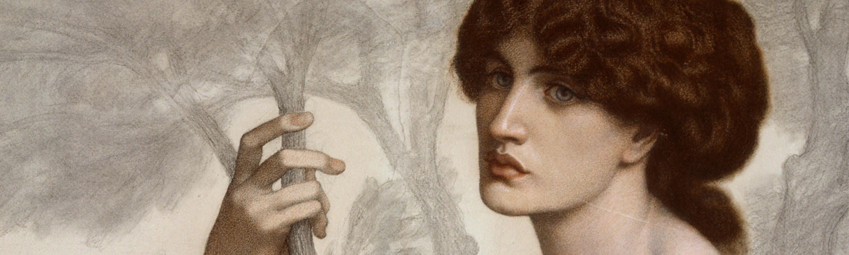 Detail from a painting by Rossetti of a woman holding a branch