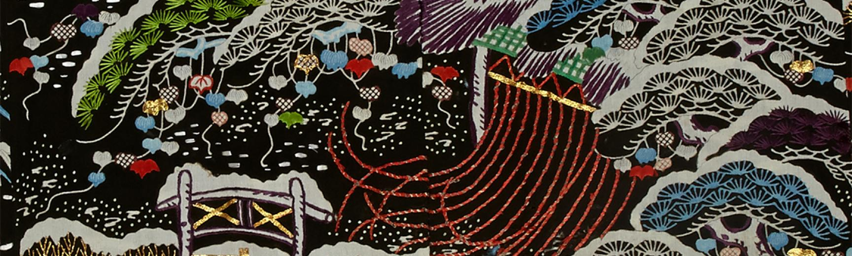 EA1957.85 Kimono with design of snowy pines