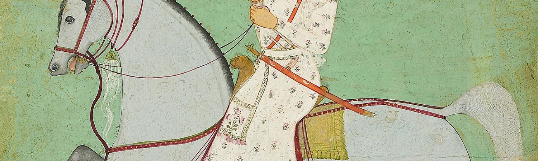 Maharaja Dhiraj Singh riding
