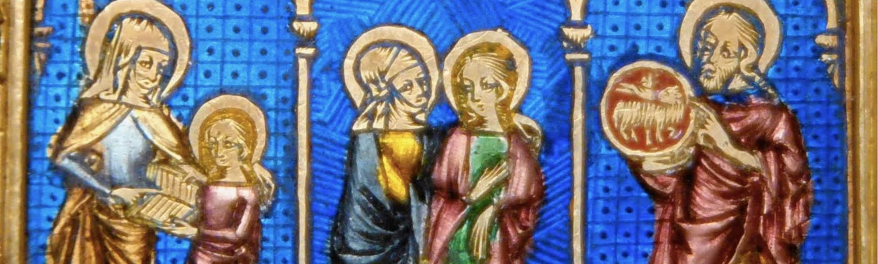 Colourful trio of Christian scenes, in gold and enamel
