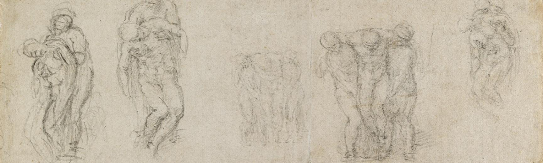 Studies for a Pieta and an entombment by Michelangelo