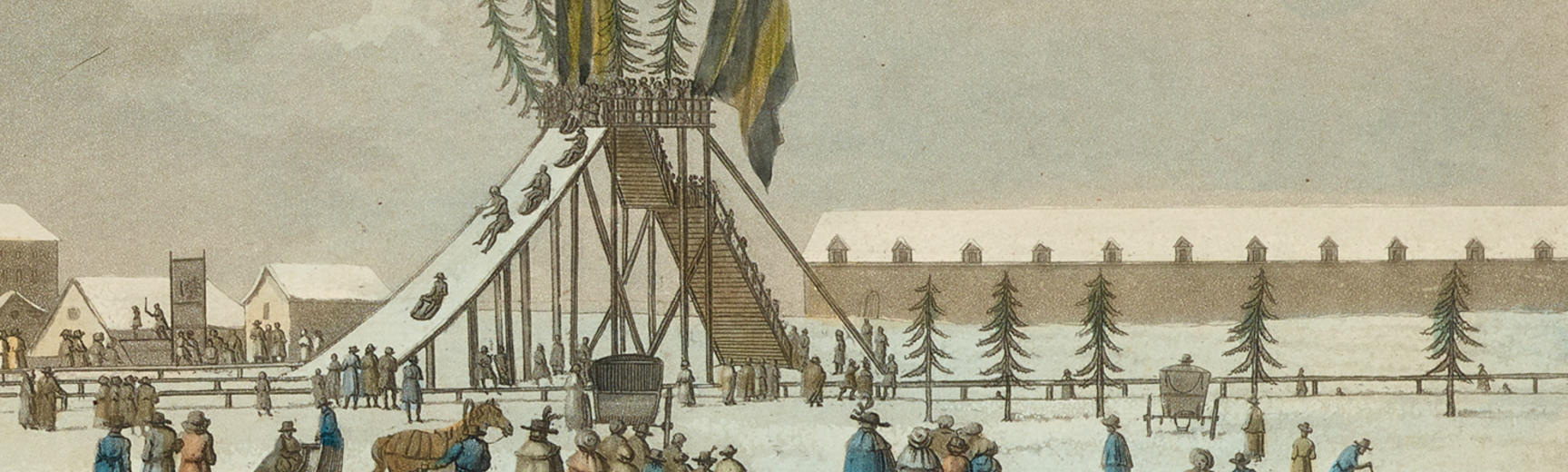 Detail of a print of a slide in Russia made from Ice
