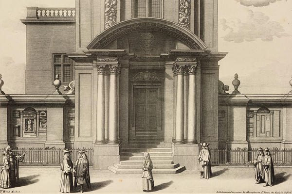 Engraving by Michael Burghers, 1685: East Front of the original Ashmolean Museum in Broad Street