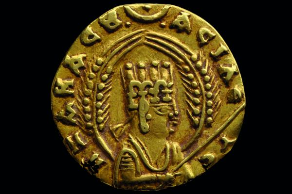 Gold coin of Ezanas of Aksum, pre-Christian period, mid 340s–360