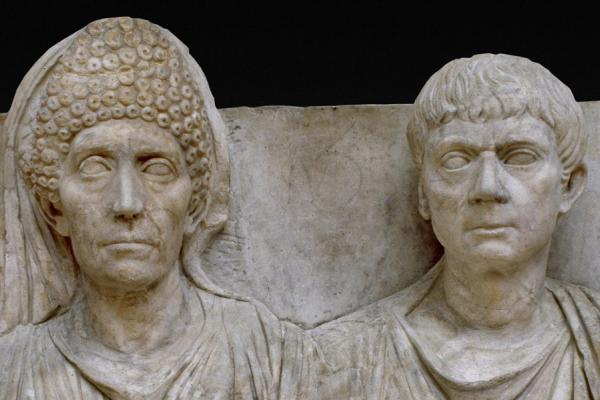 Marble Tombstone of the doctor Claudius Agathemerus and his wife Myrtale, c. AD 100