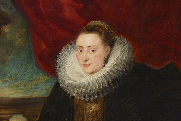 Painting of a woman's face looking out at us, wearing a ruff and with a draped red cloth behind her