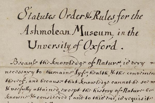 Ashmolean Museum Statutes Orders and Rules – The Ashmolean Story Gallery - Press Images