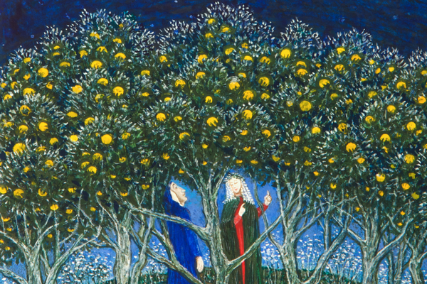 Painting of Dante and Beatrice stood amongst trees with yellow flowers on, under a deep blue sky
