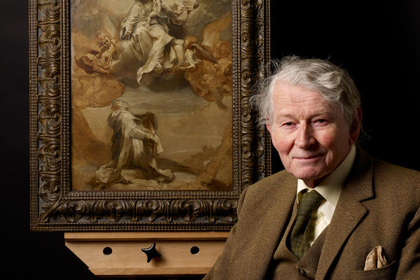 Portrait of Dr Jon Whiteley with his favourite painting (seated)
