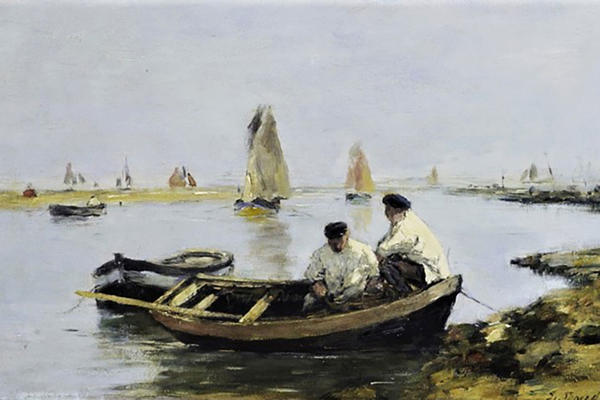 A painting of boats and two men, Normandy and Paris, Brittany and the South of France, Eugene Boudin, The Estuary c1870