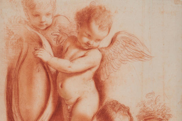 An etching of three young children, one with wings and one holding on to the handles of a standing vase