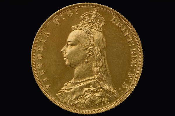 Gold coin decorated with portrait of Queen Victoria