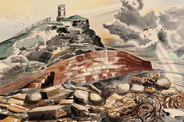 A rocky coastal scene with stormy clouds, a red brick wall and a lighthouse on the cliff in the distance