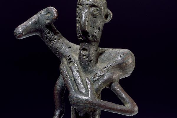 Statuette of a worshipper carrying a ram (detail), Sardinia, 8th century BC