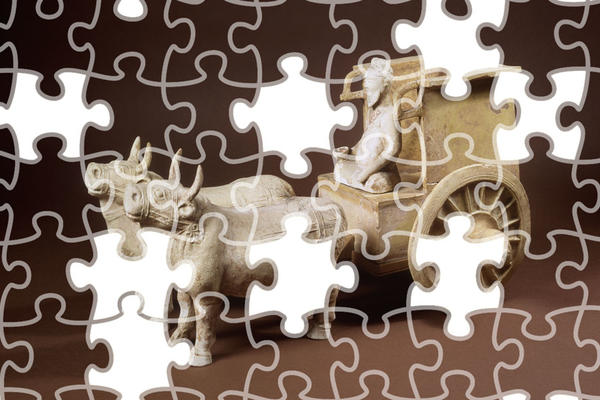 Jigsaw puzzle of a model Ox Cart