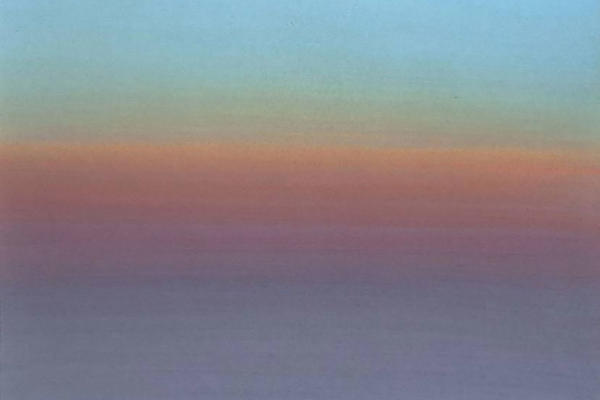 A painting of a sunset in St Ives, Cornwall modern art John Miller Kieran Stiles Painting at the Land's Edge