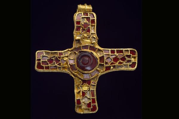 Cross inlaid with garnets