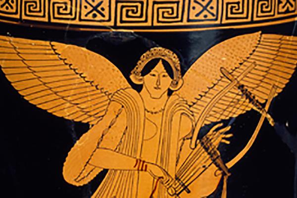 Red figure pot depicting a mythological scene
