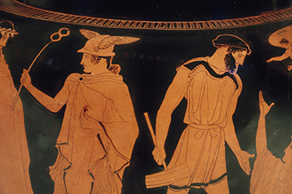 Detail of red figure pot depicting mythological scene