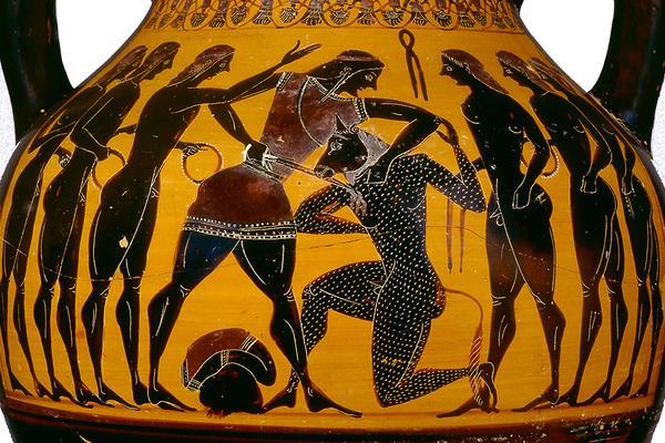 black figure pot of a mythological scene