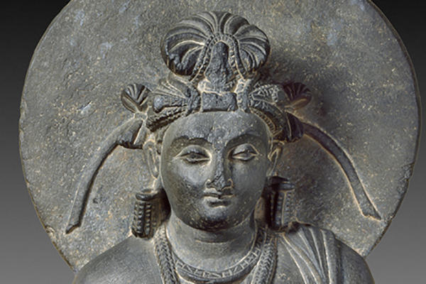 Detail of the head of a seated Bodhisattva