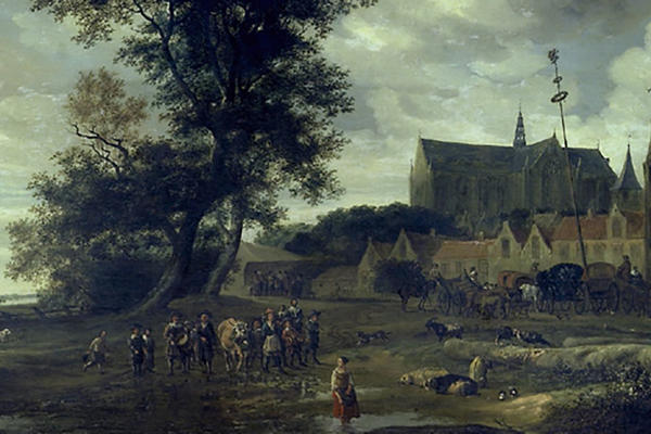 Landscape with a group of people in the forefront and a church in the background