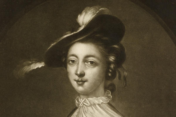 A black and white photograph of a painting of a young woman, Maria Countess of Coventry.