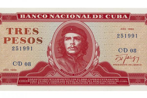 Three peso note of the National Bank of Cuba showing the iconic image of Che Guevara, 1988