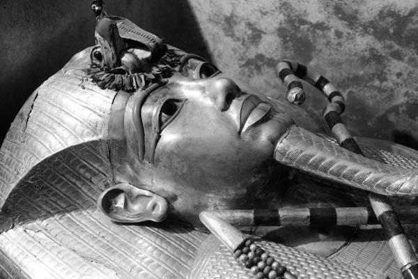 Black and White photograph of Mummy Coffin