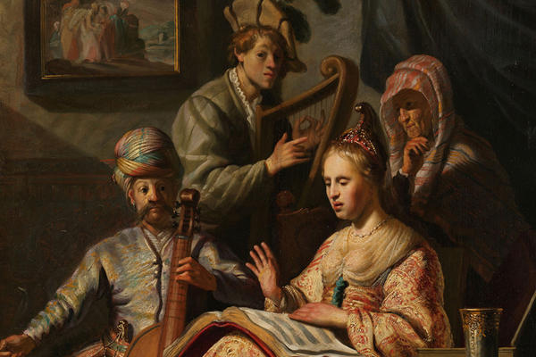 A painting of four people with a lavishly dressed woman in the foreground holding a music book, beside her a man in a turban playing the cello, behind them a man with a feather in his hat plays the harp and an old woman watches, by Rembrandt.