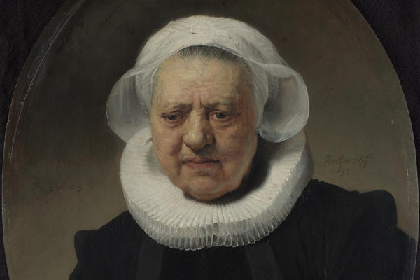 An oval-shaped painting of an old woman wearing a black dress with a white ruff and cap against a plain background.