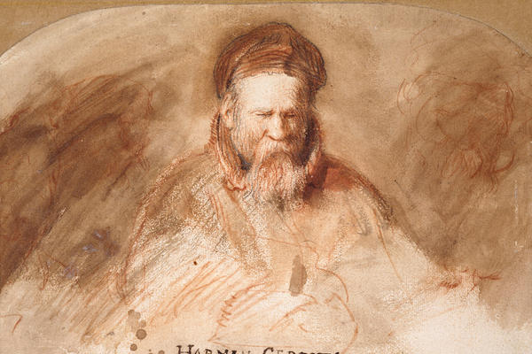 An impressionistic watercolour in brown and red tones depicting an old man with a long beard.