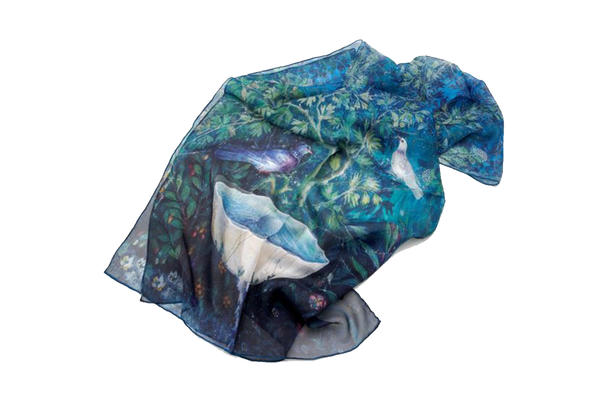 Silk Scarf with Doves