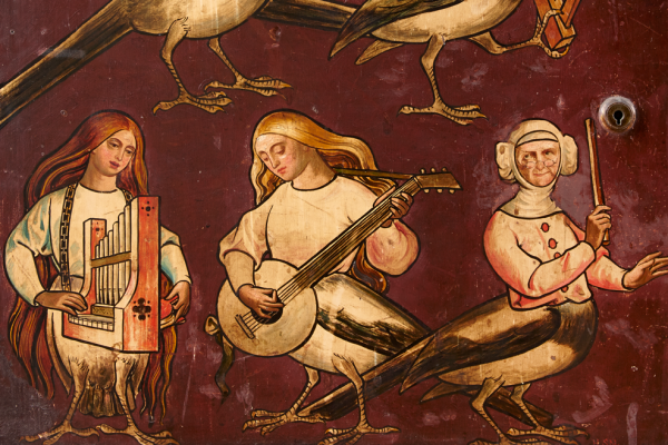 Singing Pierides on the Great Bookcase by William Burges