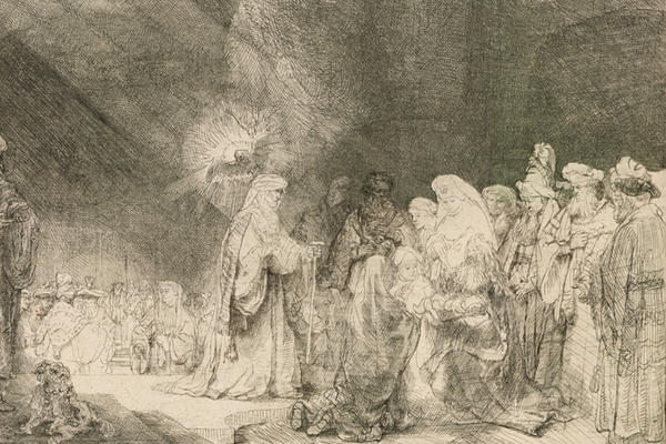 Drypoint etching by Rembrandt of the Presentation in the Temple