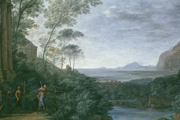 Ascanius shooting the stag of Sylvia landscape